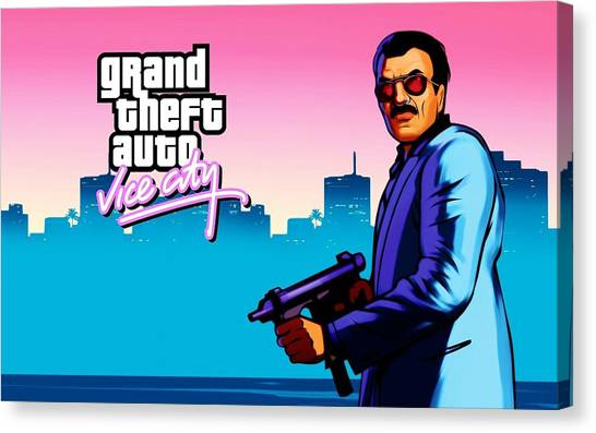 Grand Theft Auto Canvas Print - Grand Theft Auto Vice City by Super Lovely