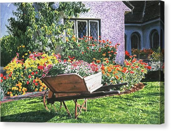 Wheelbarrow Canvas Print - Grandad's Wheelbarrow by David Lloyd Glover