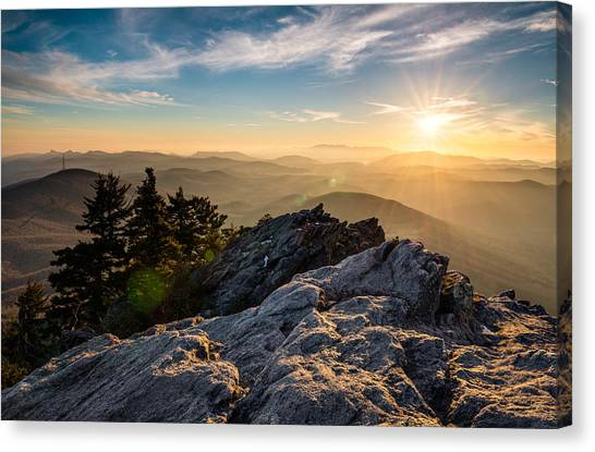 Blue Ridge Parkway Canvas Print - Grandfather Mountain Sunset Blue Ridge Parkway Western Nc by Dave Allen