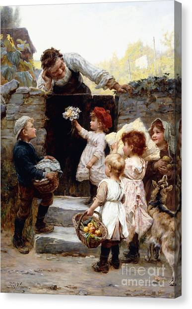 Grandpa Canvas Print - Grandfather's Birthday by Frederick Morgan