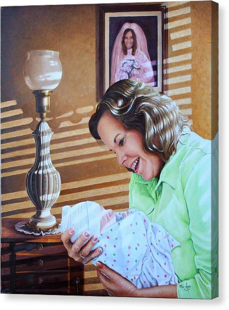 Grandma And Granddaughter Canvas Print