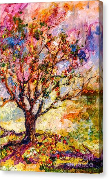 Grandmas Apple Tree Oil Painting Canvas Print by Ginette Callaway