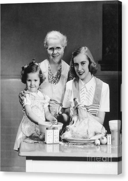 Stuffing Canvas Print - Grandmother, Mother And Daughter by H. Armstrong Roberts/ClassicStock