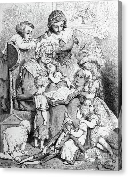 Grandma Canvas Print - Grandmother Telling A Story To Her Grandchildren by Gustave Dore