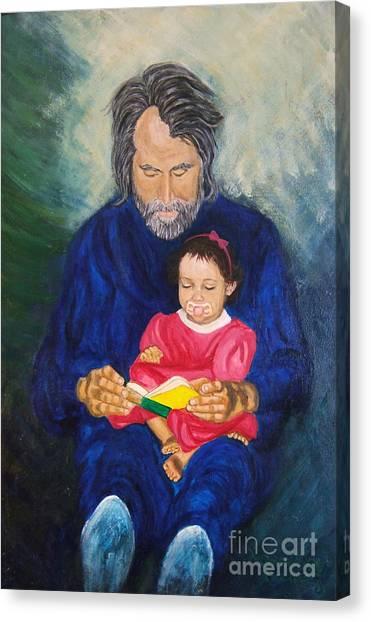 Grandpa Reads A  Story Canvas Print by Nancy Rucker