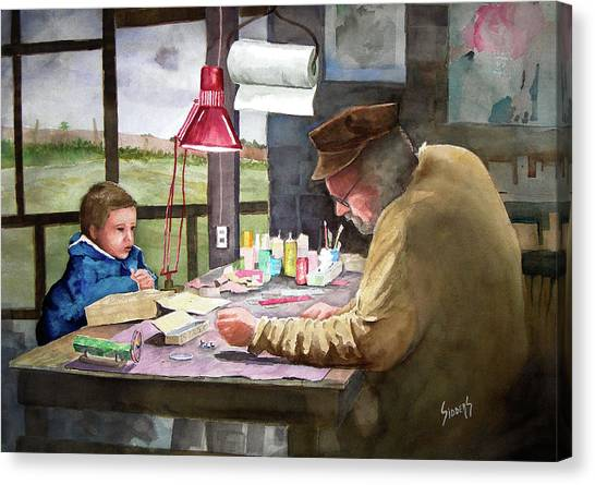 Grandpa Canvas Print - Grandpa's Workbench by Sam Sidders
