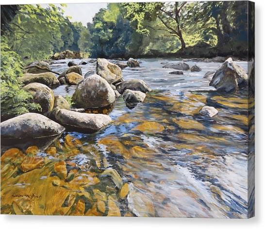 Granite Boulders East Okement River Canvas Print