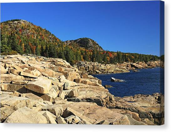 Granite Rocks At The Coast Canvas Print by George Oze