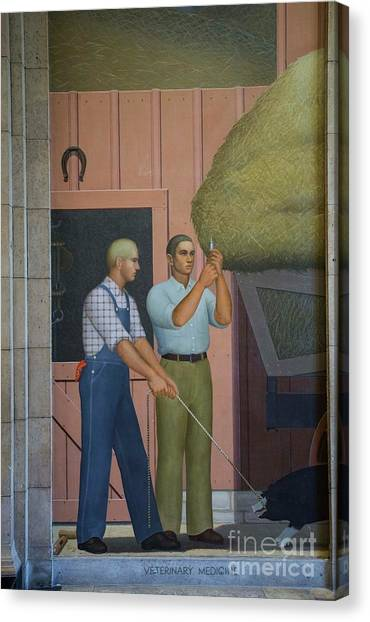Iowa State University Canvas Print - Grant Wood At Iowa State by David Bearden