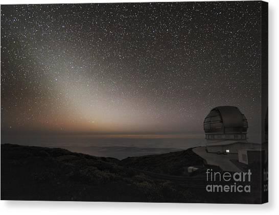 Atlantic 10 Canvas Print - Grantecan Telescope And Zodiacal Light by Alex Cherney, Terrastro