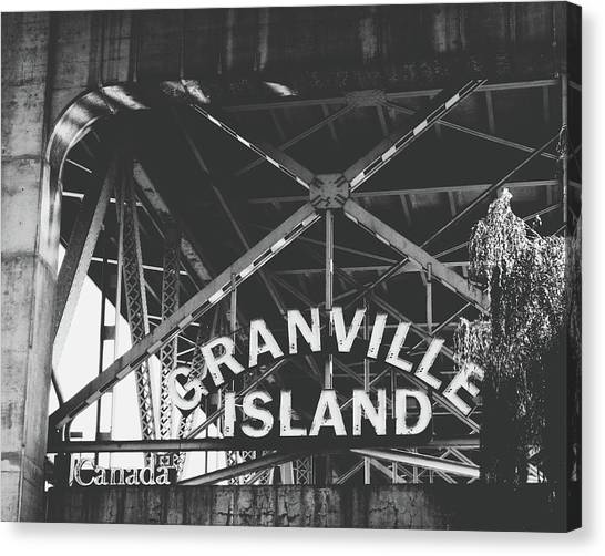 Vancouver Island Canvas Print - Granville Island Bridge Black And White- By Linda Woods by Linda Woods