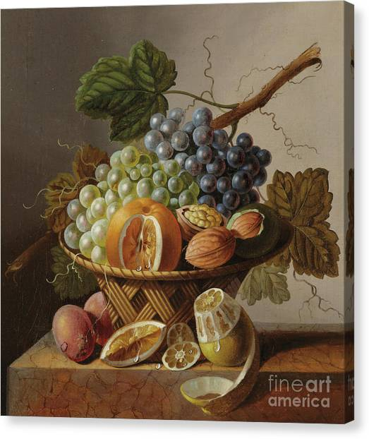 Peel Canvas Print - Grapes, An Orange And Walnuts In A Wicker Basket With A Lemon And Plums, All On A Marble Ledge by Johannes Cornelis Bruyn