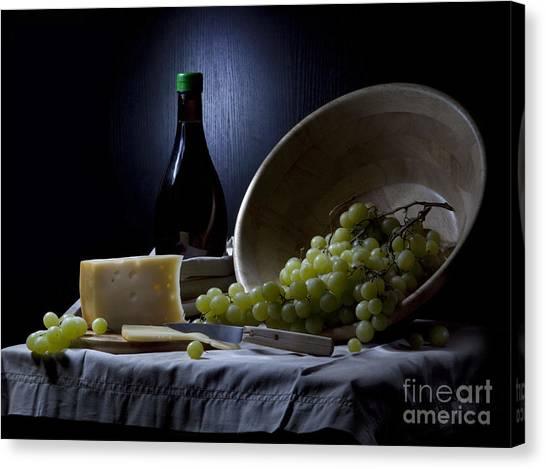 Grapes And Cheese Canvas Print by Irina No