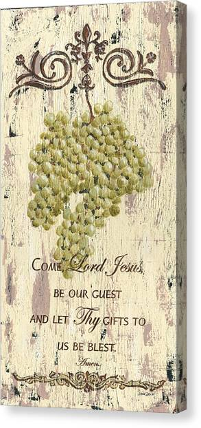 Bible Verses Canvas Print - Grapes And Grace 1 by Debbie DeWitt