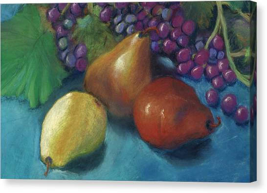 Grapes And Pears 2 Pastel Canvas Print by Antonia Citrino