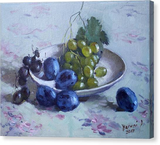 Grapes Canvas Print - Grapes And Plums by Ylli Haruni