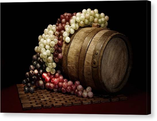 Wine Art Canvas Print - Grapes And Wine Barrel by Tom Mc Nemar