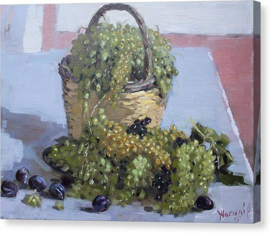 Greek Art Canvas Print - Grapes From Kostas Garden by Ylli Haruni
