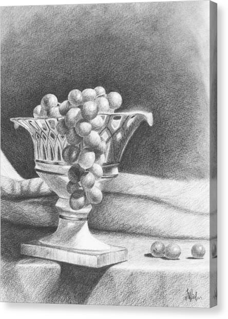 Canvas Print featuring the drawing Grapes by Joe Winkler