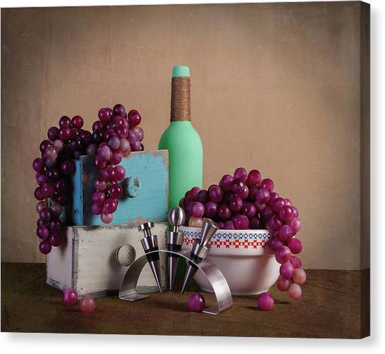 Drawers Canvas Print - Grapes With Wine Stoppers by Tom Mc Nemar