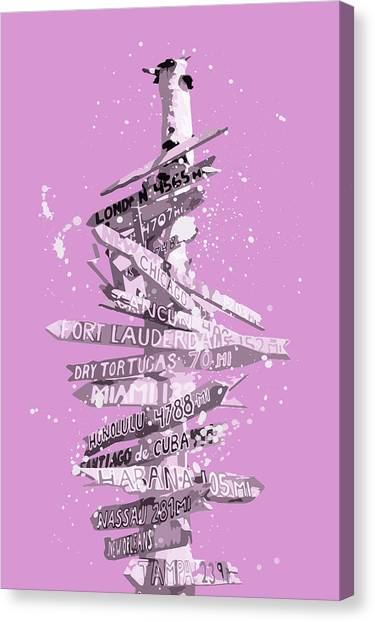 Post-modern Art Canvas Print - Graphic Art Signpost - Pink by Melanie Viola