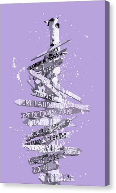 Post-modern Art Canvas Print - Graphic Art Signpost - Purple by Melanie Viola