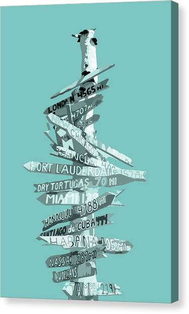 Post-modern Art Canvas Print - Graphic Art Signpost - Turquoise by Melanie Viola