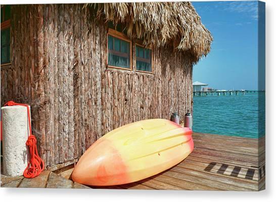 Grass Hut On Ambergris Caye Belize Canvas Print