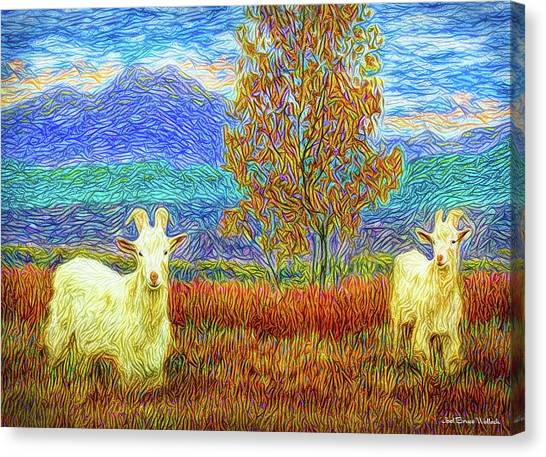 Grassy Meadow Goats Canvas Print