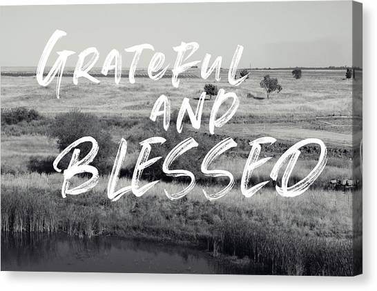 Farmhouse Canvas Print - Grateful And Blessed- Art By Linda Woods by Linda Woods