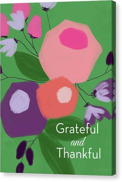 Thank Canvas Print - Grateful And Thankful Flowers 1- Art By Linda Woods by Linda Woods
