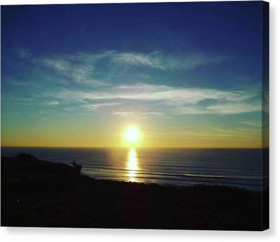 Ocean Cliffs Canvas Print - Grateful #mobileprints #sunset #sun by Sunny White