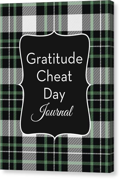 Plaid Canvas Print - Gratitude Cheat Day Journal Plaid- Art By Linda Woods by Linda Woods