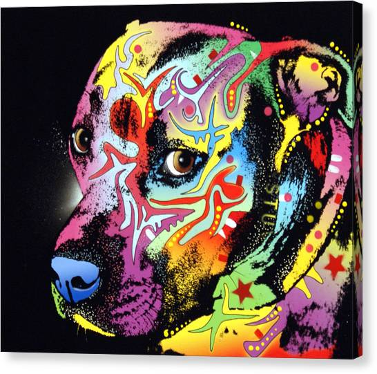 Pit Bull Canvas Print - Gratitude Pit Bull Warrior by Dean Russo Art