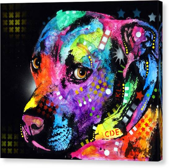 Mixed-media Canvas Print - Gratitude Pit Bull by Dean Russo Art