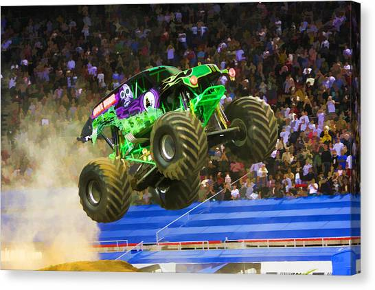 Acrobatic Canvas Print - Grave Digger 7 by Jeelan Clark