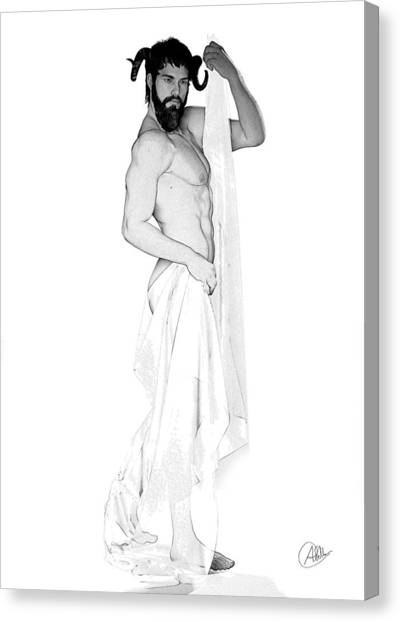 Male Nude Art Canvas Print - Dionysus Pencil Drawing by Quim Abella