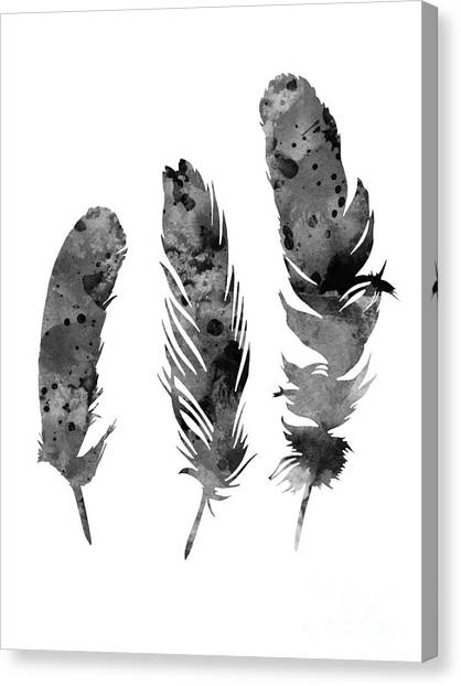 Largemouth Bass Canvas Print - Gray Feathers Watercolor Art Print Painting by Joanna Szmerdt