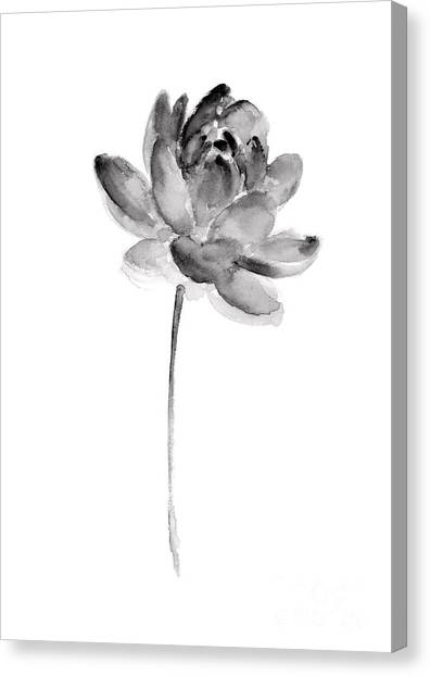 Flower Canvas Print - Gray Lotos Drawing by Joanna Szmerdt