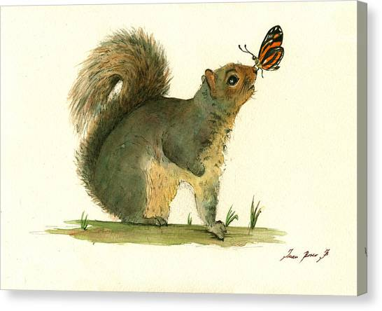 Squirrels Canvas Print - Gray Squirrel Butterfly by Juan Bosco