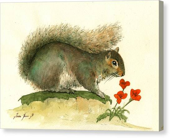 Squirrels Canvas Print - Gray Squirrel Flowers by Juan Bosco