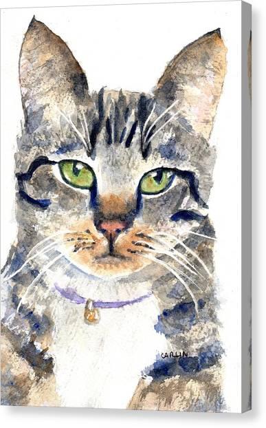 Watercolor Pet Portraits Canvas Print - Gray Tabby Cat Watercolor by Carlin Blahnik CarlinArtWatercolor