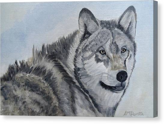 Minnesota Timberwolves Canvas Print - Gray Wolf by Angeles M Pomata