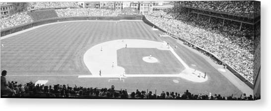 Pitching Canvas Print - Grayscale Wrigley Field, Chicago, Cubs by Panoramic Images