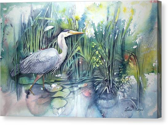 Great Blue Heron Canvas Print by Leslie Redhead