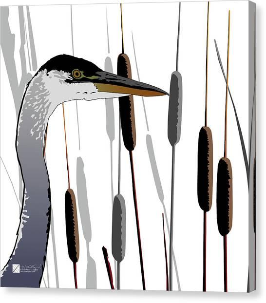 Great Blue Heron - Light Background Canvas Print