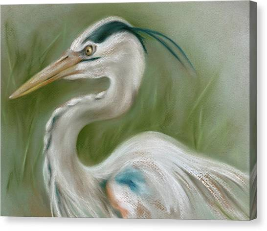 Canvas Print featuring the pastel Great Blue Heron by MM Anderson