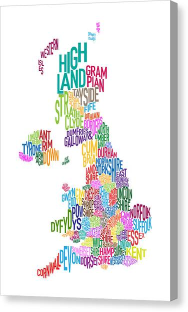 United Kingdom Canvas Print - Great Britain County Text Map by Michael Tompsett