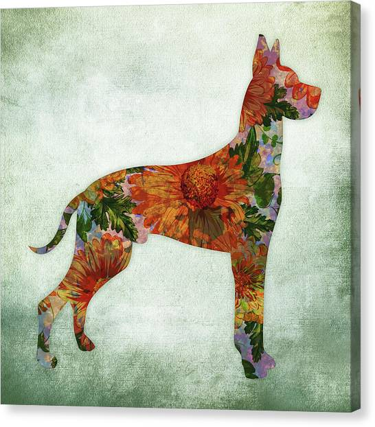 Watercolor Pet Portraits Canvas Print - Great Dane Floral On Green by Flo Karp