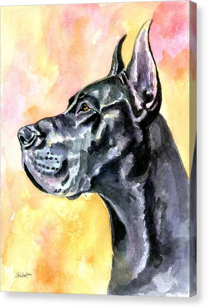 Watercolor Pet Portraits Canvas Print - Great Dane by Lyn Cook